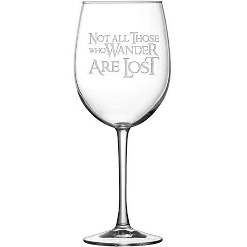 Integrity Bottles Premium Lord of the Rings Wine Glass with Stem, Not All Those Who Wander Are Lost, Hand Etched 15.4 oz Tulip Gift Glasses, Made in USA, Sand Carved