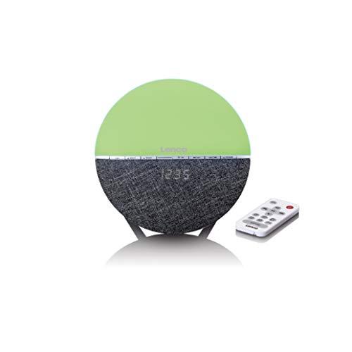 Lenco CRW-4 Uhrenradio - Wellness Wake-Up-Light - Lichtwecker mit Bluetooth - PLL FM Empfänger - zwei Weckzeiten - 2 x 3 Watt RMS - Überblendanimation mit 7 Farben - grau