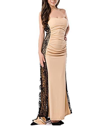 LIXFDJ Vestido sexy para mujer, vestido de noche largo, con retazos de encaje y abertura alta, sin tirantes (color : desnudo, tamaño: 3XL)
