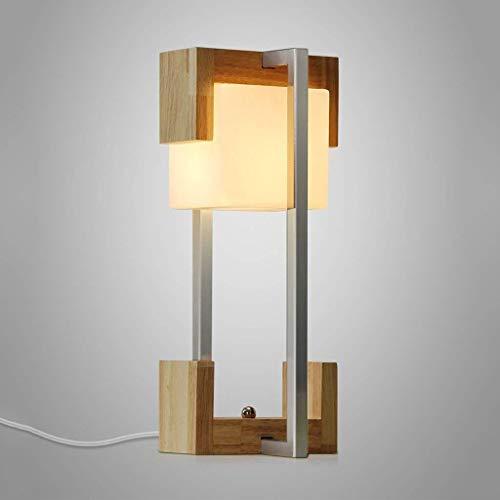Lámpara de mesa de madera nórdica, creativa, cristal cuadrado, lámpara de noche, oficina, dormitorio, salón, personalidad, lámpara de escritorio