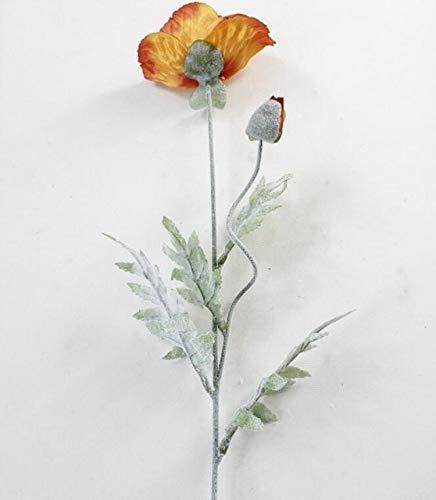 GANHUA 5 Stks Kunstmatige grote Papaver bloem met bladeren fleurs kunststoffen voor de herfst herfst herfst Thuis partij Decoratie krans nep zijde bloemen Hele Lengte 70cm Oranje