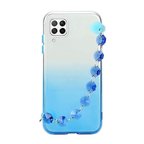Miagon Armband Kette Hülle Huawei P40 Lite,Gradient Handyhülle Weich Silikon Klar Slim Stoßfestr Schutzhülle Ultra Dünn Bumper für Huawei P40 Lite,Blau