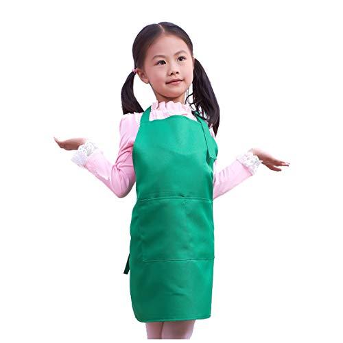 LissomPlume Kind Malschürze Kunstkittel Kinderschürze Kochschürze Arbeitsschürze Painting Supplies - Grün