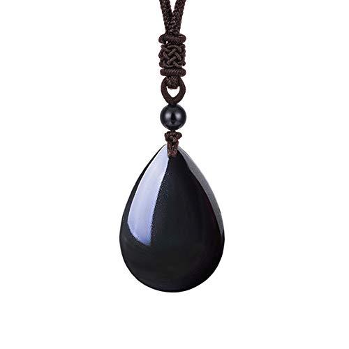 OCARLY - Colgante de gota de obsidiana con ojo de arco iris y amuleto, de acero inoxidable, titanio y cadena 925