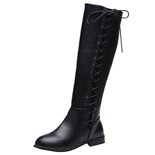 BIBOKAOKE Stiefeletten für Damen Runder Kopf Leder Reißverschluss Vintage Overknee Stiefel Knee-High Shoes Winterstiefel lederstiefel