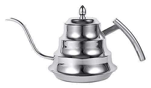 ZHANGKAIXUAN Gießkanne Metall 1,2L GOOSECK Kaffeekanne, Edelstahlbrauer for die Verwendung auf Gas elektrischer Induktionsherd nach Hause (Color : Silver)