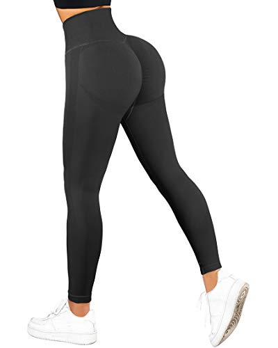 SUUKSESS Women Seamless Butt Lifting High Waisted Leggings Ombre Contour Yoga Pants (Black, S)