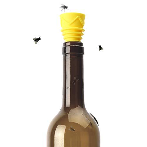 inhzoy Fruchtfliegenfallen Wiederverwendbare Fliegenfänger Gummi Trichter für Insektenbekämpfung Haus Küchen Indoor Outdoor Einsatz Orange & Gelb One Size