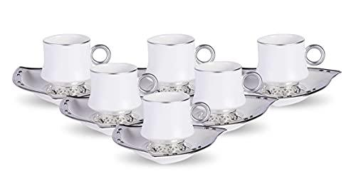 Saroujah Luxury Turkish Coffee Cup I Arabic Coffee Cups I Coffee Cup Sets of 6 | Ramadan Gifts | Arabic Tea Cup Set | Turkish Coffee Set | Espresso Cups Set (White and Silver)