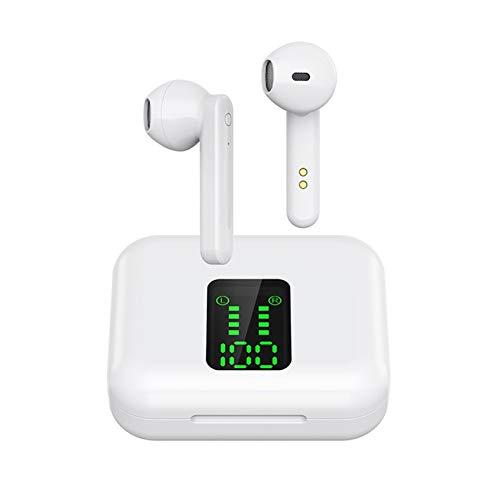 FISEYU Auriculares inalámbricos Bluetooth 5.0, L12 TWS, impermeables, con cancelación de ruido, sonido premium con graves profundos, para deporte, color blanco, talla única