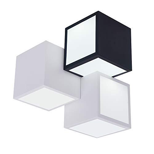 Lingkai Moderne 3 Würfel Kombination LED Deckenleuchte Innen Pendelleuchte Kronleuchter 18W Tageslicht Weiß