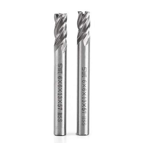 4 fluiten schachtfrees gereedschap Akozon 6 mm HSS metalen schachtfrees schachtfrees Helical Groove 4 fluiten graveerfreesmachine bit CNC gereedschapsset van 2 stuks