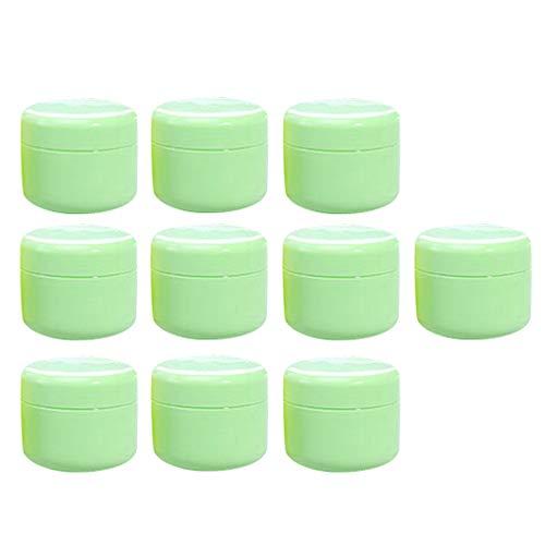 Sharplace 10 pièces Pot Vide Cosmétique en Plastique Bocaux Stockage de Crèmes Échantillon Vide - Vert-100g