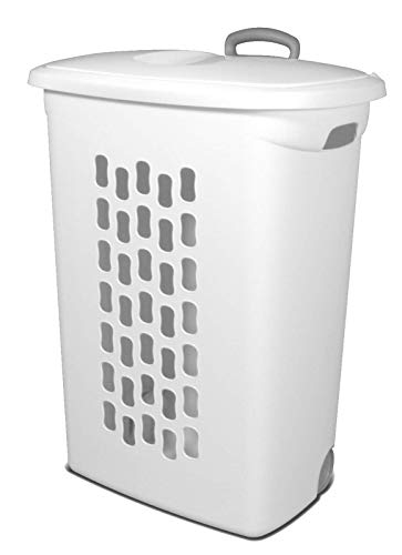 Sterilite 12228003 Wheeled Hamper with Handles and Wheels, White