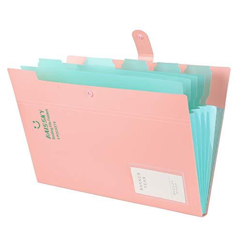 Yigou Carpeta Clasificadora Archivador A4 Organizador Documentos Plastico Extensible Portátil Organizador Documentos para Herramientas Escolares y de Oficina, 6 Bolsillos