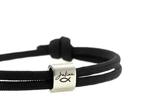 KOMIMAR Surfer Armband FISCH SYMBOL mit persönlicher Namensgravur in vielen Farben - personalisiert...