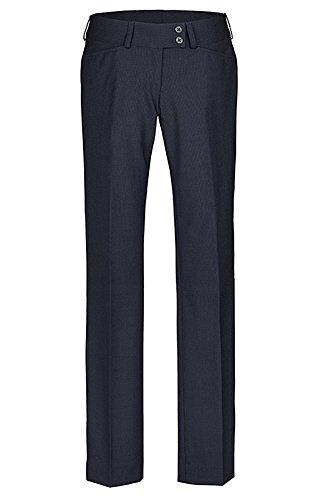 GREIFF Damenhose mit niedriger Leibhöhe | Gerader Beinverlauf | 2 Seitentaschen | Breiter Doppelknopfbund | Farbe: Marine | Größe: 50