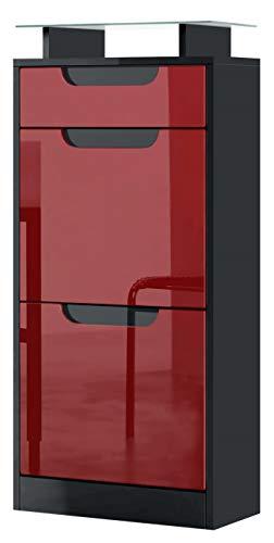 Vladon Gabinete de Zapatos Fiesta V2, Cuerpo en Negro Mate/Frente en Burdeos de Alto Brillo con molduras en Negro de Alto Brillo