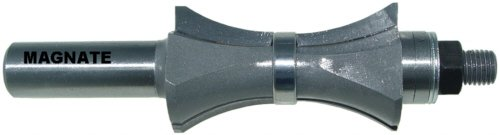 Magnate 5869 Finger Nail with Center Bearing Router Bit - 1-3/4' Profile Height; 1/4' Cutting Depth