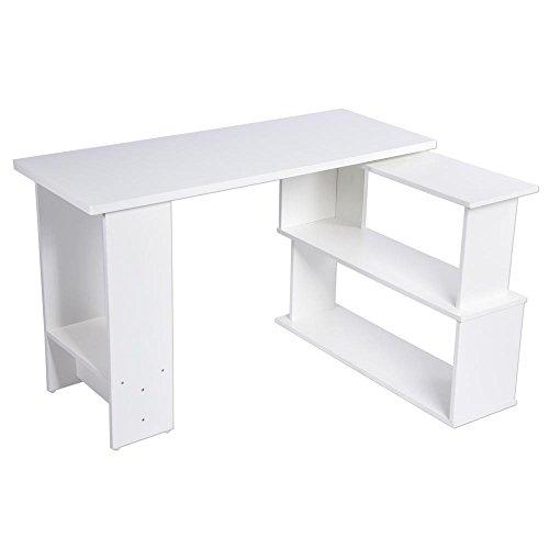 Biurko komputerowe, biuro w kształcie litery L lub biurko oszczędzające miejsce narożne biurko komputerowe do biura domowego, białe, 47 * 35 * 29 cali