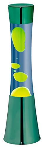 Große Lavalampe Chrom, Wasser Blau, Wachs Grün Gelb, inklusive Leuchtmittel - Kindersicher - Magmaleuchte Lava Leuchte