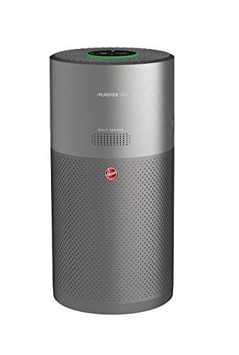 Hoover Luftreiniger H-PURIFIER 500 für Allergiker mit Diffusor, Luftqualitätsüberwachung, Trifilter, Pollenerfassung & Inaktivierung, bis zu 110 m², CADR 330 m³/h, App fähig, Titan, HHP55CA