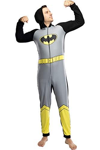 DC Comics Mens' Batman Superhero Character Hooded Union Suit Footless Pajamas Costume (Batman, L/XL)