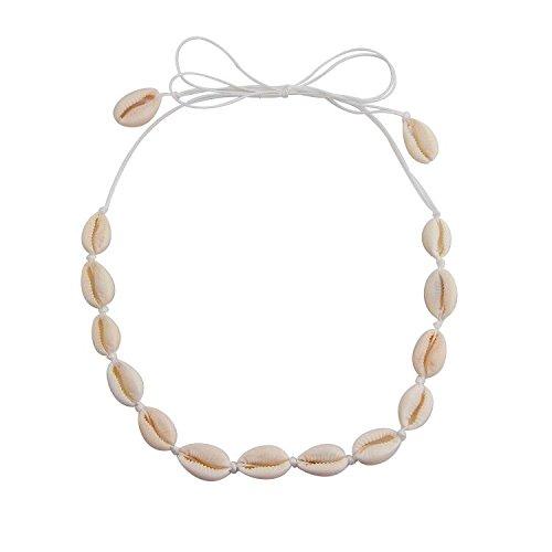 QIIER Shell Choker Necklace Cowrie Hawaiian Shell Bead Necklace Beach Choker for Girls(Shell Choker Necklace)
