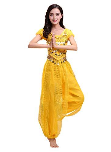 Grouptap Bollywood Indio bharatanatyam Danza del Vientre Amarillo Traje de Disfraces de 2 Piezas para Mujer Bailarina Adulta (150-170cm, 30-60kg) (Amarillo)