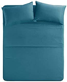 Comfort Spaces Ultra Soft Hypoallergenic Microfiber 4 Piece Set, Wrinkle Fade Resistant Sheets with Pillow Cases Bedding, Twin XL, Teal