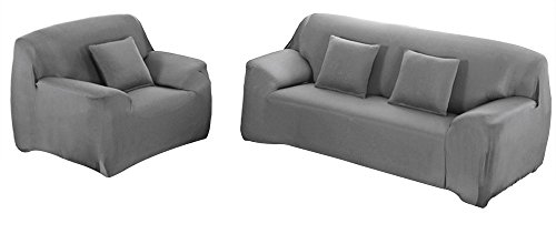 WOWTOY Sofa Cover 1 2 3 4 Seater Slip Cover Sofa Couch Stretch Elastic Fabric Sofa Protector (1 Seater, Grey)