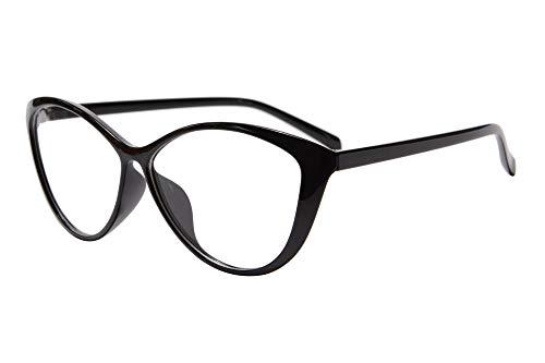 SHINU - Occhiali da lettura con lenti trasparenti UV400, anti-affaticamento degli occhi, mal di testa (dormire meglio), lenti trasparenti UV400 C1 Nero M