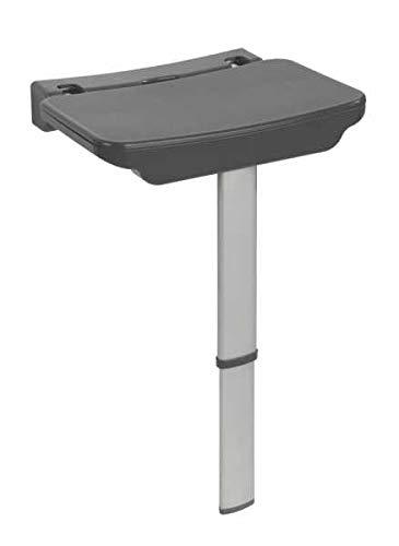 WENKO Asiento mural ducha Secura Premium - asiento de ducha abatible, capacidad de carga de 120 kg, Polipropileno, 37 x 37.5-56.5 x 30.5 cm, Antracita