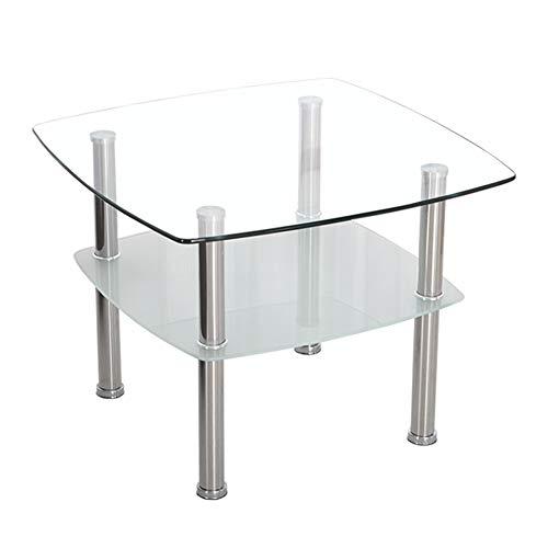 Kleine salontafel van glas 2-traps theetafel met opbergkast van gehard glas poten van roestvrij staal voor de lounge, wit