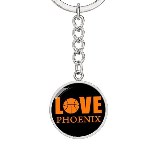 Love Phoenix - Llavero de baloncesto de acero inoxidable o oro de 18 quilates, Llavero de lujo (acabado en oro amarillo de 18 quilates), talla única