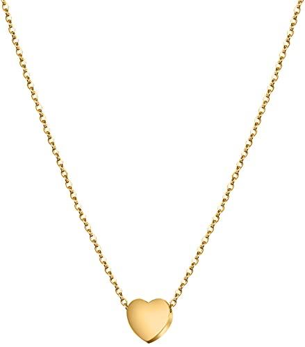 day berlin Herz Kette Damen Halskette in Gold 45-50cm Filigrane Herzkette mit Anhänger kleines Herz, Variable Länge vegoldet