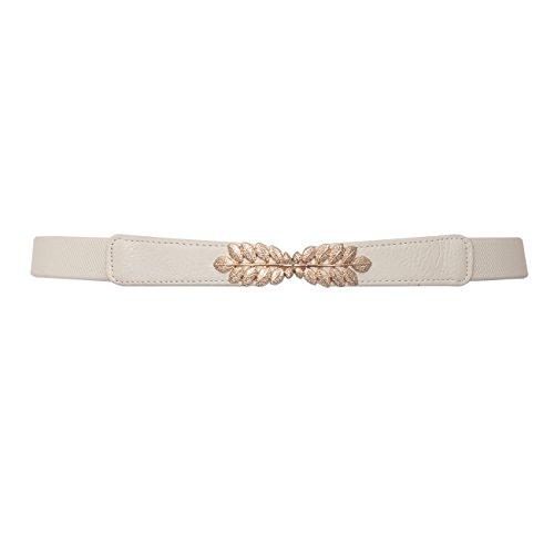 eVogues Plus size Leaf Interlocking Buckle Elastic Belt Off White - One Size Plus