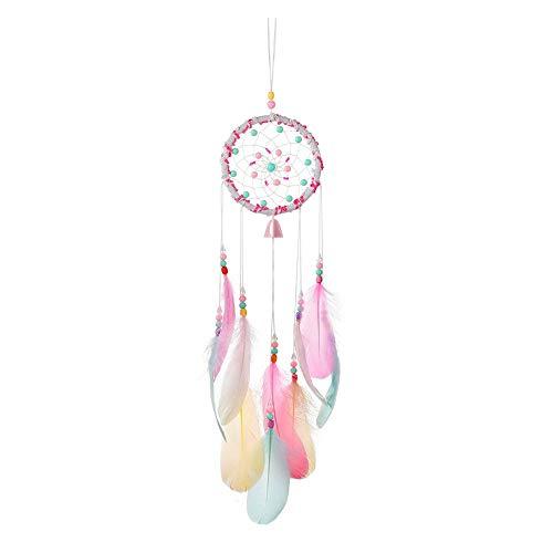 Traumfänger, Pink Dreamcatcher handgewebter Traumfänger Romantische Dekoration Wandbehang Wohnkultur Ornamente Handwerk Feder Traumfänger Windspiel Anhänger Bunter Traumfänger für Zimmerdekoration