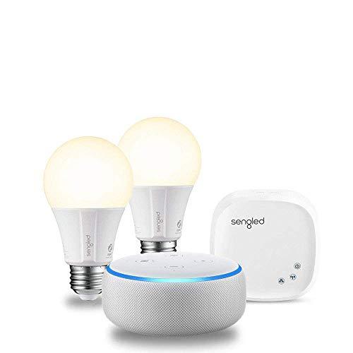 Echo Dot (3rd Generation) - Sandstone with 2 Smart Bulb Kit by Sengled