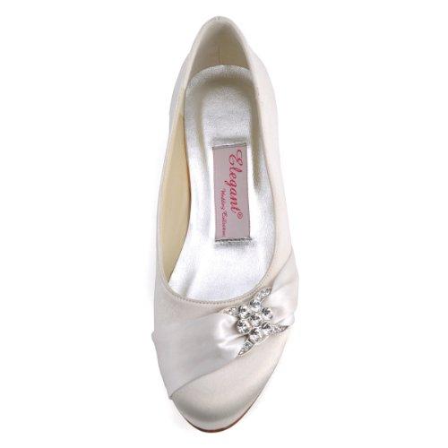 Bequeme flache Brautschuhe Ballerinas   Ivory - 4