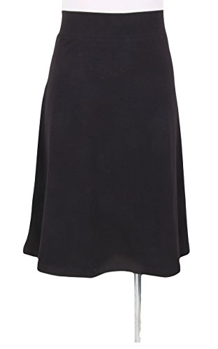 KIKI RIKI Women's Cotton A-line Spandex Skirt Black Small