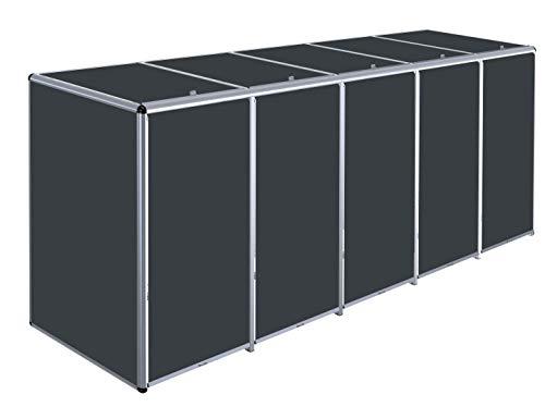 KIRCHBERGER METALL Aluminium Mülltonnenbox Rollobox, 120 Liter, 5er Box (Granitkies)