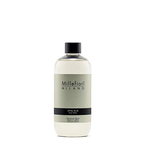 Millefiori Milano Ricarica per Diffusore di Aromi per Ambiente, Fragranza, White Musk, 500 ml