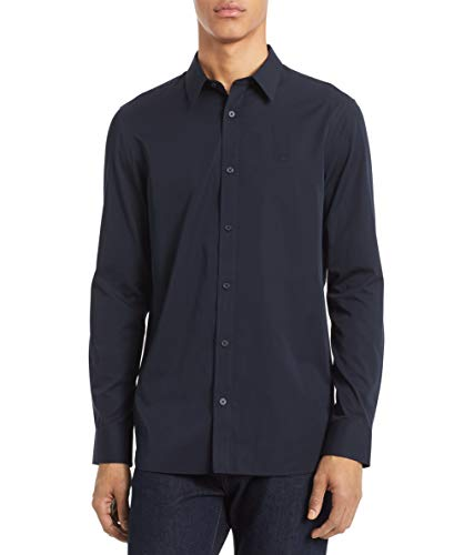 Calvin Klein Men's Cotton Cashmere Button Down Shirt, Sky Captain, Medium