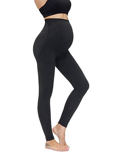 Maacie Premamá Pantalones Lápiz de Maternidad con Cintura Alta Elástica XL Negro