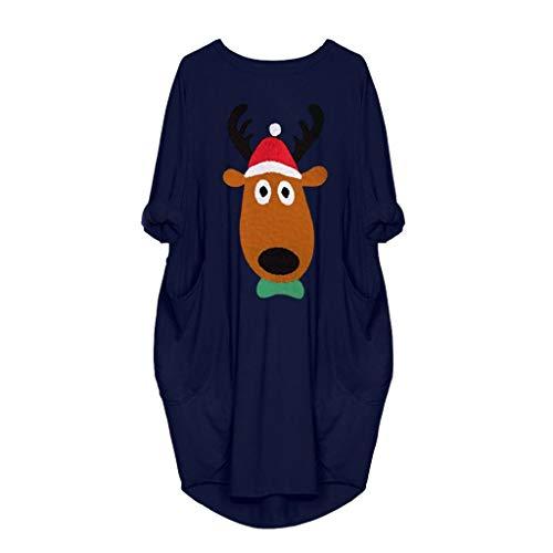 IZHH Damen Weihnachtskleid Rundhal Large Size Minikleid mit Taschen Weihnachten Elk Cartoon Kostüme Tunika Kleid Freizeit Partykleid Frauen Geschenk(Blau 03,L)