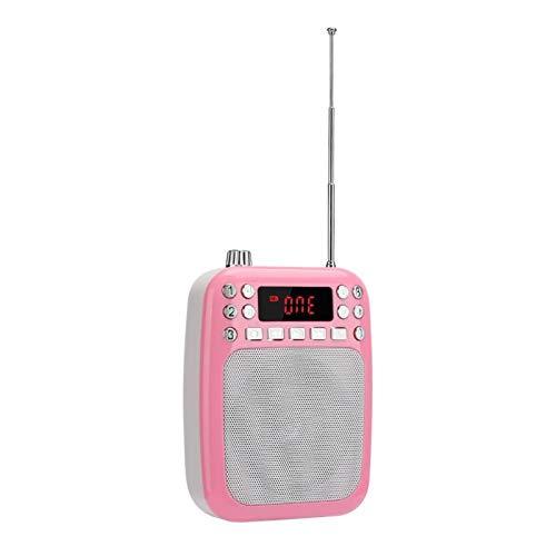 FOLOSAFENAR Altavoz MP3 Recargable con Memoria de Punto de ruptura M301, para PC, teléfono móvil, para enseñanza, para guía turístico(Pink (Including Belt))