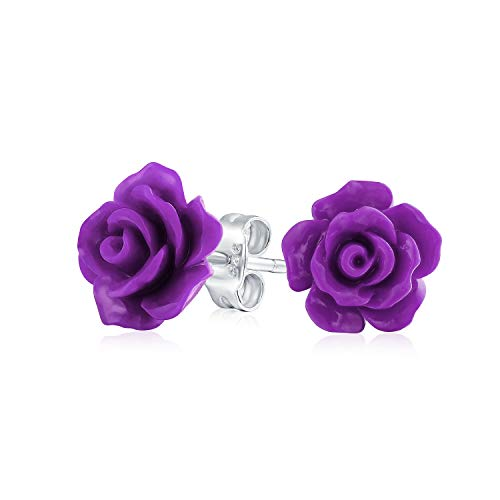 Romantic Delicate Floral 3D Craved Lavender Purple Flower Stud Earrings For Women Teen For Mother Silver Plated