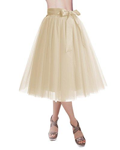 DRESSTELLS Knee Length Tulle Skirt Tutu Skirt Evening Party Gown Prom Formal Skirts Champagne M-L