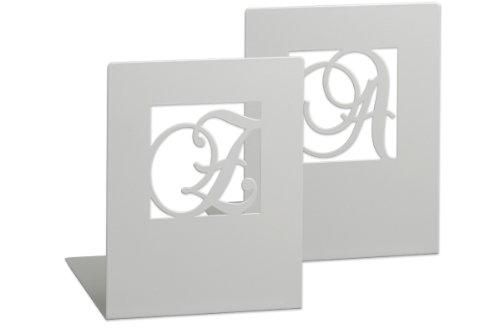 moses. Buchstützen-Set A & Z klassisch libri_x , 2er-Set Buchständer aus Metall , Zwei Silber Metall-Buchstützen im Set mit wunderschön ausgestanzten Buchstaben
